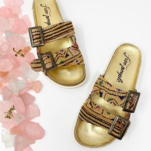 Free People Bali Boho Cork Sandals Slides NWT 40